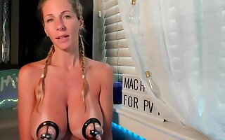 Blonde Milf Slave using Nipple Clamps and Masturbates ONLY FOR YOU