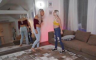 A marvelous scissoring scene between two kinky blondes