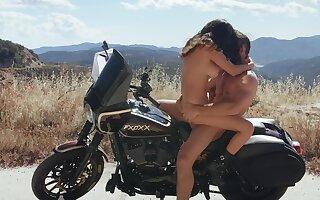Wild girl Ashley Adams fucked hard outside on a motorcycle