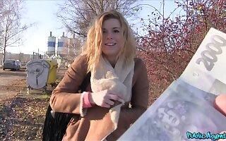 Whorish blonde Chrissy pushed to the ground during hardcore outdoor bang