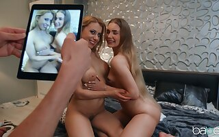 Lucky lad granted access to the tasty pussies of Nikki Thorne and Mary Rock