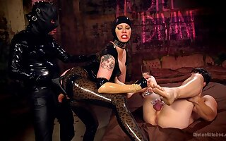 Maitresse Madeline Marlowe tortures her slave and rides his cock