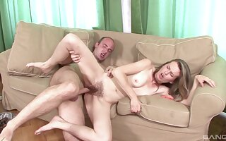 Skinny broad with hairy cunt, home porn on camera