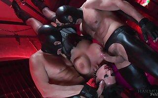 Masked men roughly fuck her in brutal BDSM scebes