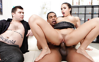 Housewife Mira Cuckold Fucks a Black Guy While Her Passive Husband Watches