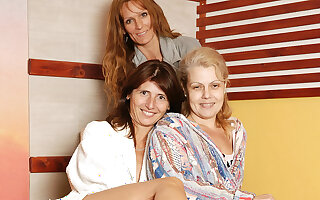 Mature ladies relaxing in an all female sauna
