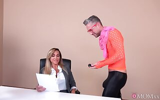 Skinny male drills Aubrey Black fro crazy manners while both at the office