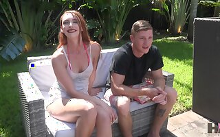 Whorish vibrator addicted bitch Xeena Mae is poked well near the unify