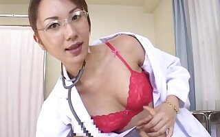 Japanese doctor Amateur drops her panties forth ride a large dick