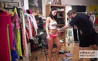 Lecherous brunette Aidra Fox is changing dress in the lead of one kinky dude