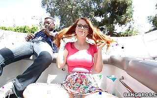Redhead hottie Penny Pax gets fucked from behind by a black unearth