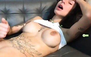 Perfect Ten TS FlowerAva Jerking Off on Webcam