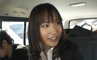 Japanese model Kasumi Ueamura enjoys getting pleasured down the jalopy