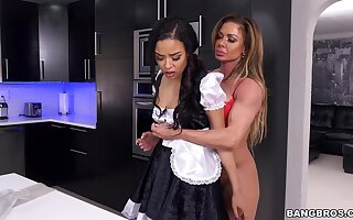 Horny MILF Nina Dolce shares her hubby with sexy maid Maya Bijou